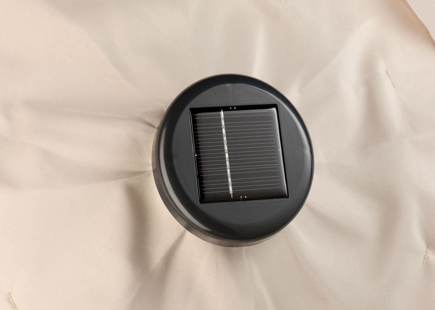 Solar cells in the top charge the standard AA batteries with enough electricity for at least 4 hours of illumination